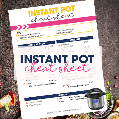 Can't remember how long to cook things in your Instant Pot? Use this Instant Pot Cheat Sheet for quick access to cooking times.
