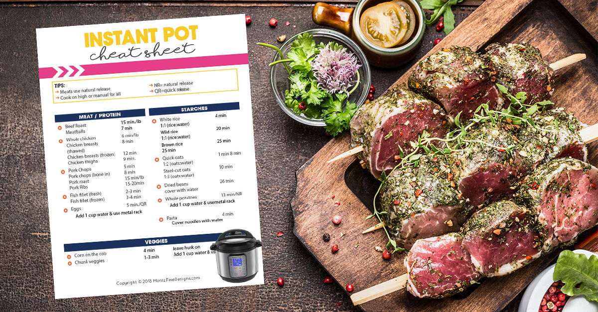 graphic about Instant Pot Cheat Sheet Printable identify Quick Pot Cheat Sheet for Cooking Situations Absolutely free Printable