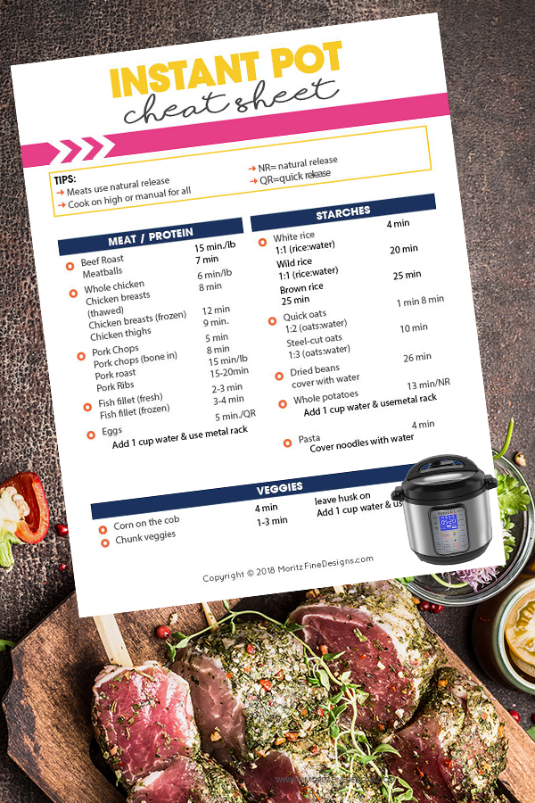 graphic regarding Instant Pot Cheat Sheet Printable named Instantaneous Pot Cheat Sheet for Cooking Occasions Free of charge Printable