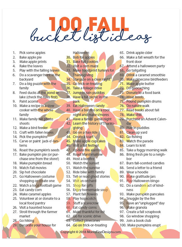 Fall is the perfect time to spend some great family time on an adventure of fall activities using the 100 Fall Bucket List Ideas!
