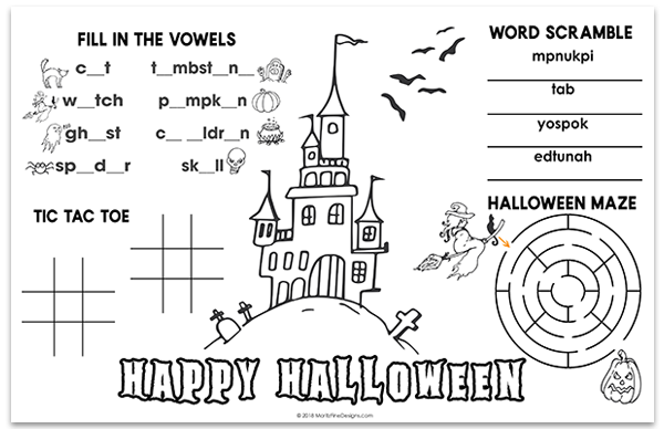 Make Halloween even more fun for the kids...at mealtime use the free printable Halloween Placemat so the kids have lots of fun activities to work on.