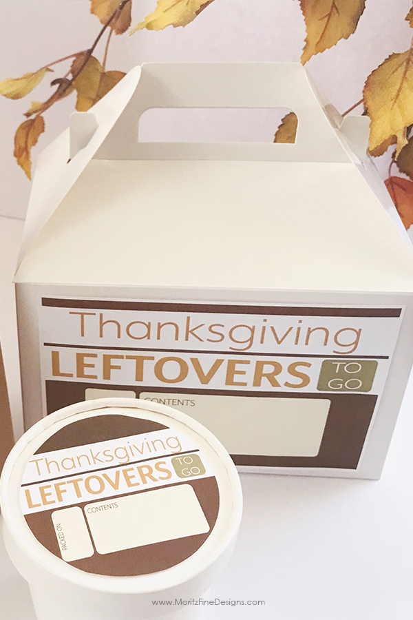 Use these Thanksgiving Leftover Containers to send home all of that extra turkey and stuffing. Prep the containers beforehand with the free printable labels.