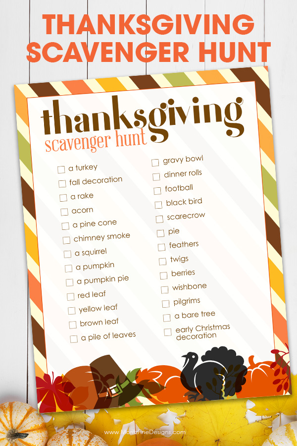 Keep the kids occupied during your Thanksgiving gathering with this fun free printable Thanksgiving Scavenger Hunt activity for kids.