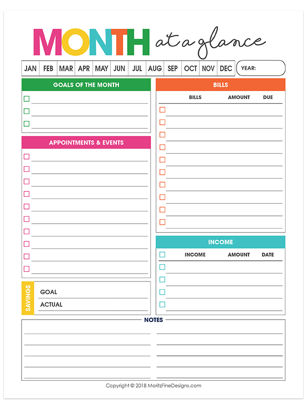 This is a graphic of Hilaire Printable Monthly Planner