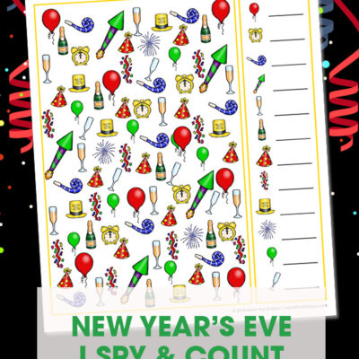 Your kids will have a blast with this fun free printable New Year's Eve I Spy Activity. It's the perfect game for in the car, at a party or at home!