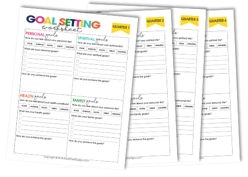 Quarterly Goal Setting Worksheets Free Printable Downlaod