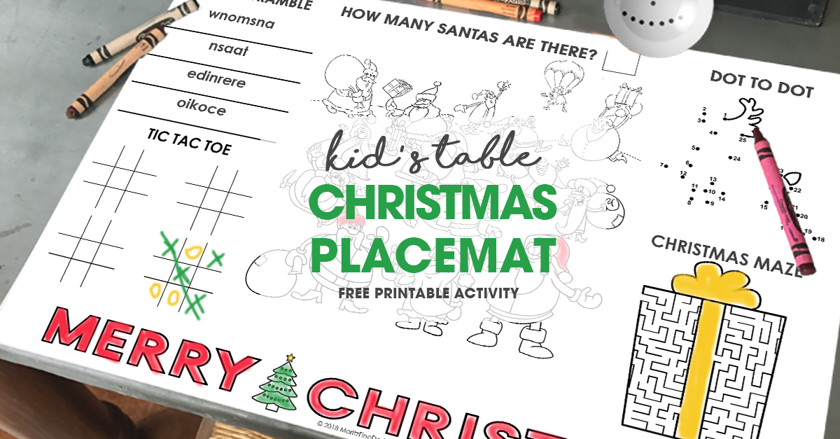 Christmas Placemat For Kids Free Printable Diy Activity Placemat