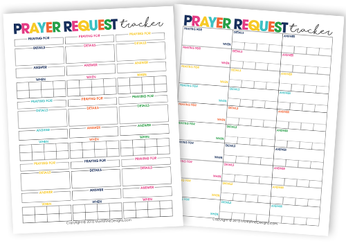 Use the Prayer Request Tracker to keep an ongoing list of what or who you are praying for as well as the details of the situation you are praying for.