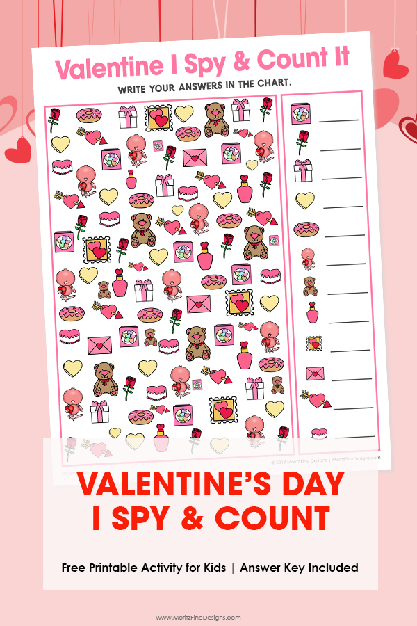 Kids will have a blast with this fun free printable Valentine's Day I Spy Activity. It's the perfect game for in the car, at a party or at school or home!