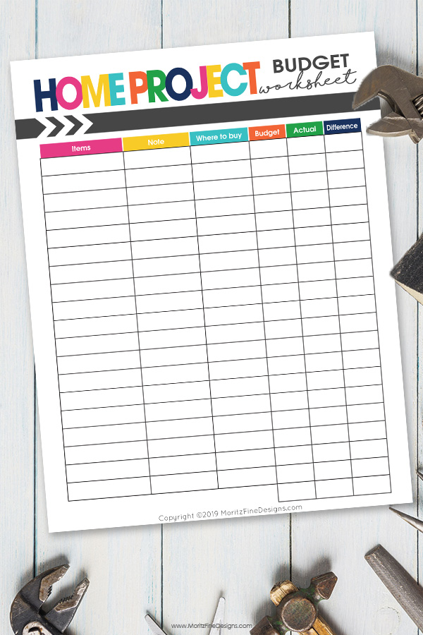Don't start a home project without determining your budget! Use this free printable Home Project Budget Worksheet to determine your project costs.