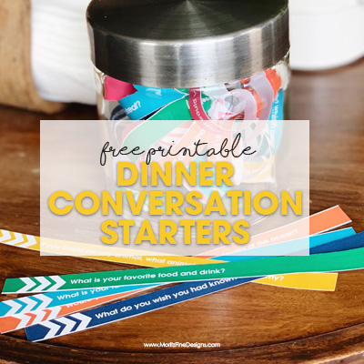 Get your kids talking during dinnertime with these free printable Family Dinner Conversation Starters, full of fun & engaging questions your kids will love.