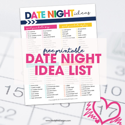 Have you run out of date night ideas? On a tight budget? Need to get creative? Use this free printable list of Date Night Ideas for Couples!