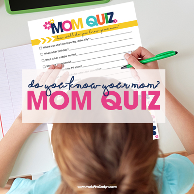 Mom will laugh and cry when she reads the answers the kids gave on the free printable Mom Quiz! Perfect for kids of all ages to give as a Mother's Day Gift.