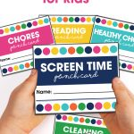 Get your kids motivated to do chores, make healthy choices, earn their screen time and more by using these free printable Punch Cards for Kids.