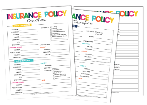 Use the free printable Insurance Policy Tracker to help keep everything you need to know about all your insurance polices it all at your fingertips!