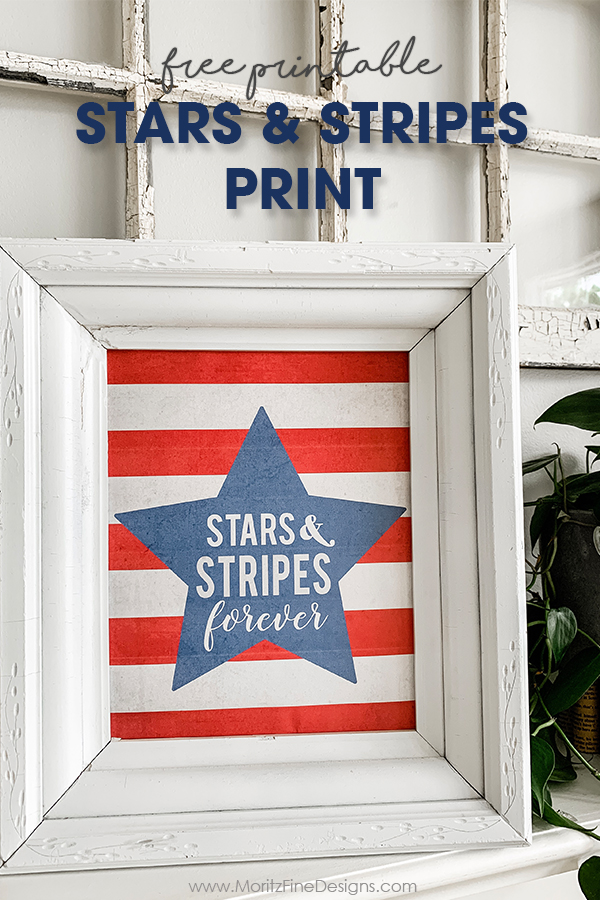 Update your home for the 4th of July with this red, white and blue stars & stripes free home decor print. Simple and easy to download and print.