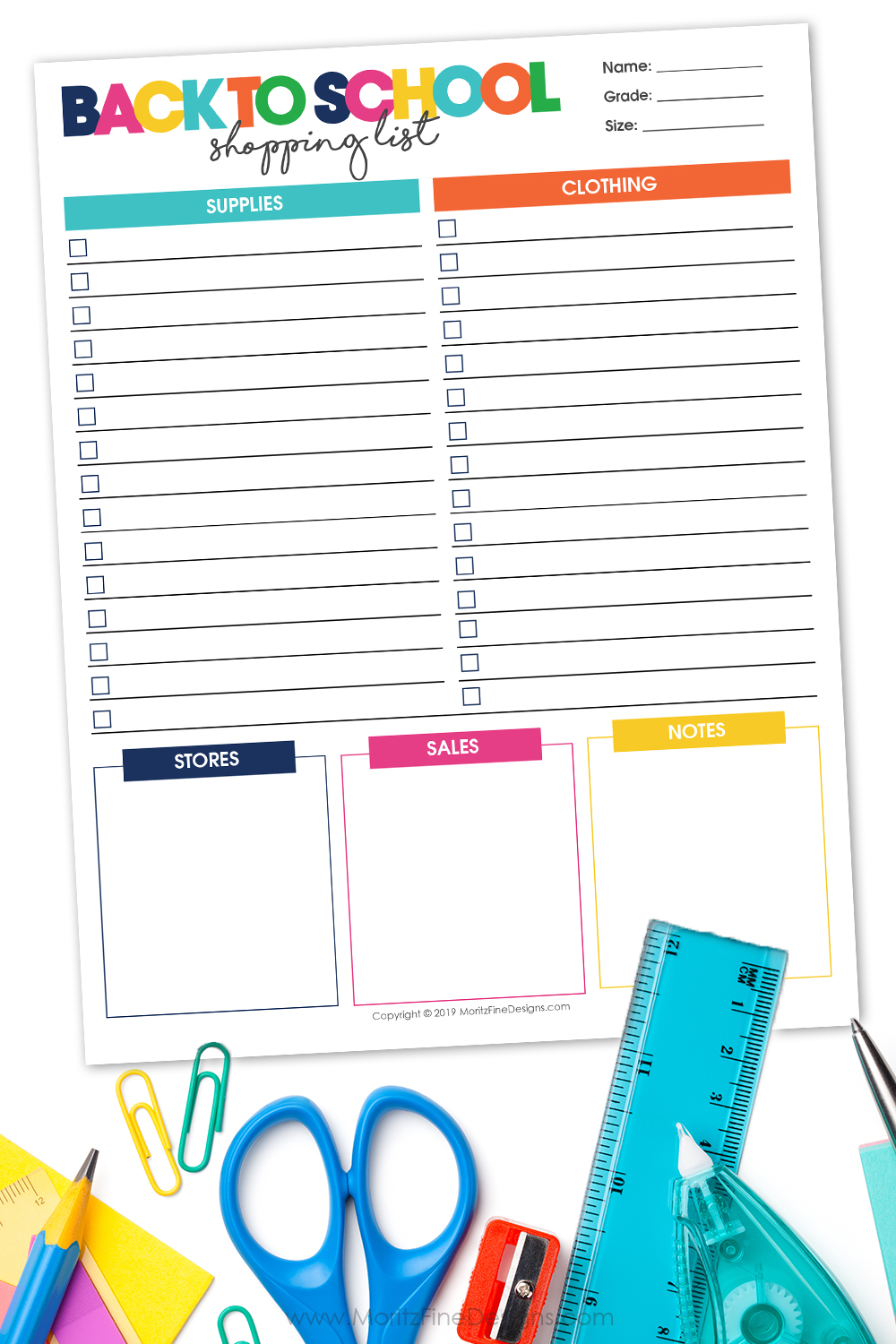 Get the most out of your back to school shopping, use the free printable Back to School Shopping List to creat a complete list of everything your kids need.