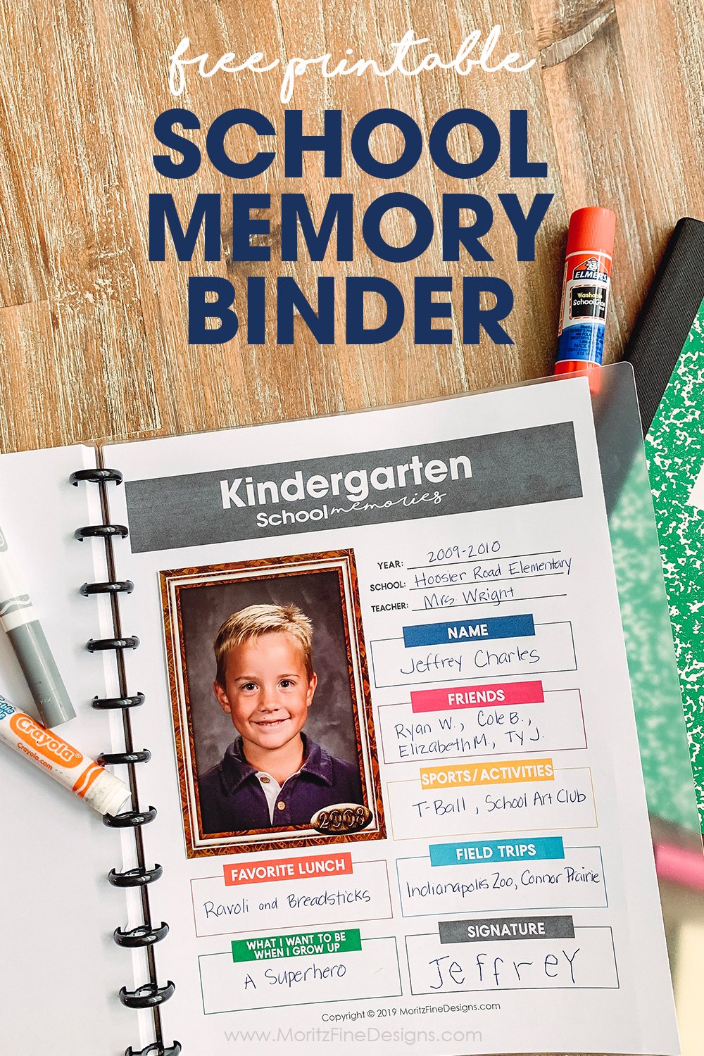 Keep track of your kid's favorite things about each school year with this free printable School Memory Binder for grades Pre-School through Grade 12.