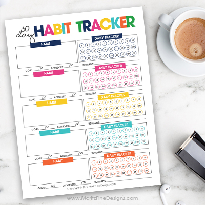 Trying something new? Make it a habit in no time at all by tracking your progress daily, weekly and monthly with the free printable Habit Tracker.