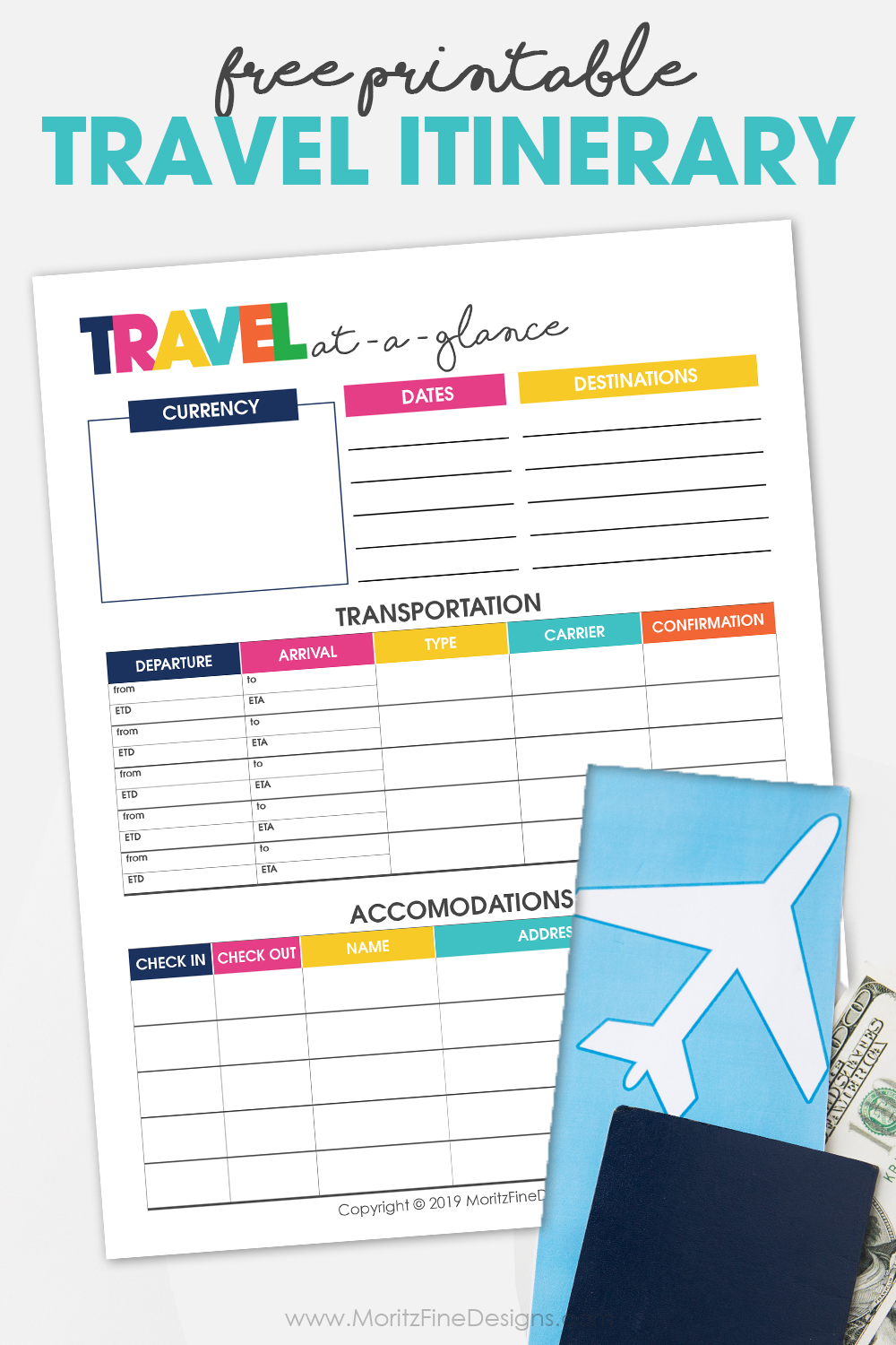 Use the free printable Travel Itinerary Planner for your next vacation. Keep track of everything--dates, transportation, accommodations & more.