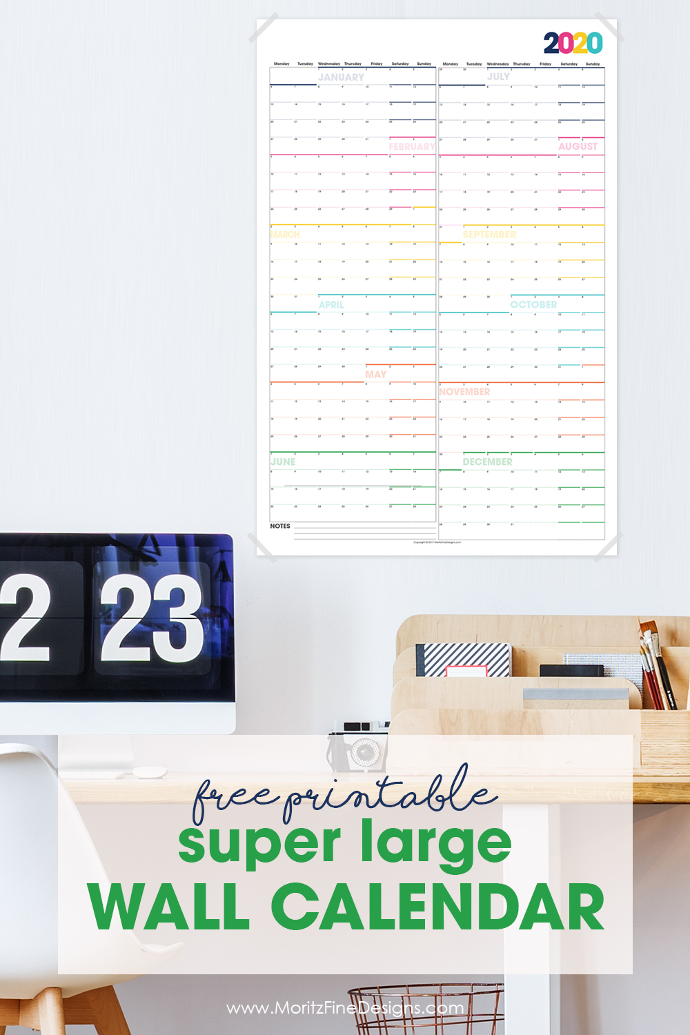 Make it easy to see at a glance your year-long overview of all of your family and work events--just use this free printable large wall calendar and hang!