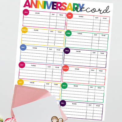 Never forget another anniversary again. Use the free printable Anniversary Date Tracker to compile a complete list of your family & friend's anniversaries.