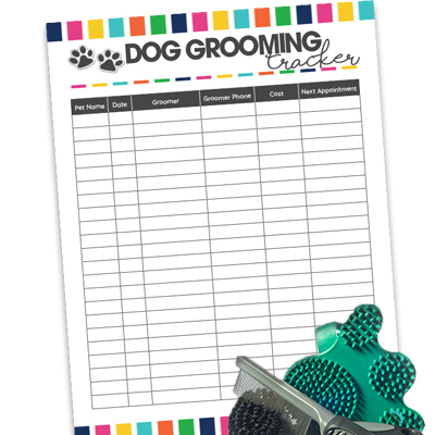 Keep track of your dog's visits and upcoming appointments to the groomer by using the free printable Dog Grooming Tracker.
