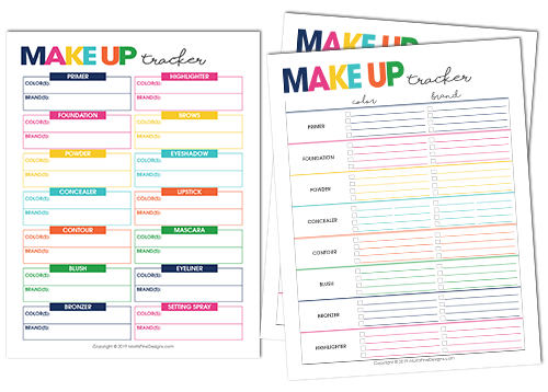 Keep track of all your favorite make-up items with the free printable Make-Up Tracker. The perfect place to list all of the brands and colors you love.