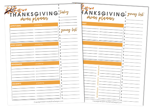 Use this free printable Thanksgiving Menu Planner to make sure no detail goes left unturned when planning your Thanksgiving dinner and shopping list.