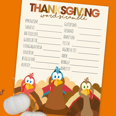 Thanksgiving fun at home or school! Kids will have a blast trying to unscramble the words in this free printable Thanksgiving Word Scramble!