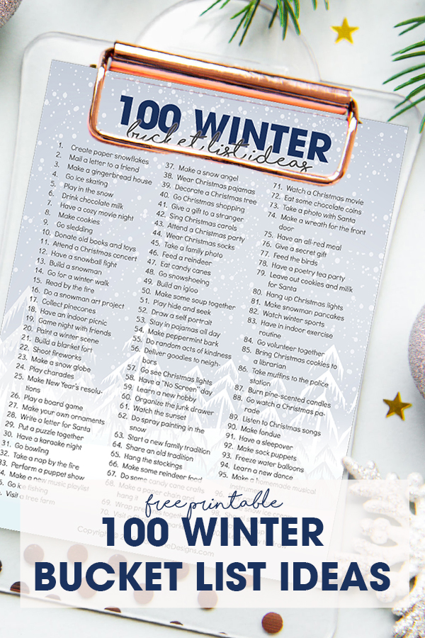 Winter is the perfect time to spend some great family time on an adventure of winter activities using the free printable 100 Winter Bucket List Ideas!