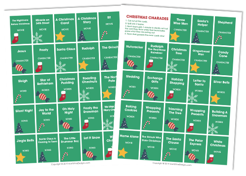 Gather friends and family at your Christmas gathering and get everyone involoved in a fun game of Christmas Charades! It's the perfect game for all ages.