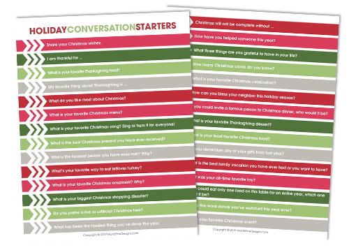 Holiday Dinner Conversation Starters Free Printable Download