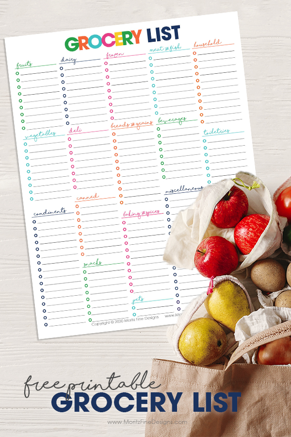 Print this Free Printable Grocery List--hang it on your fridge and compile a list of items you need at the grocery store.