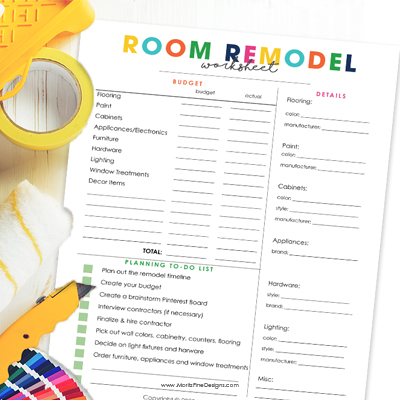 Room Remodel Worksheet