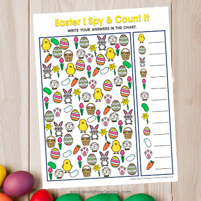 Kids will have a blast with this fun free printable Easter I Spy and Count activity. It's the perfect game for in the car, at a party or at school or home!