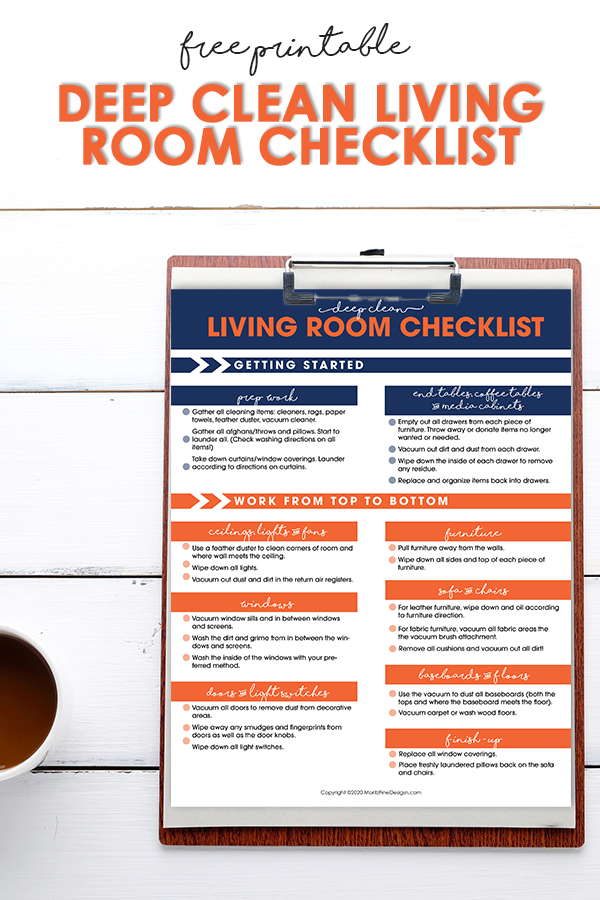 Get your living room cleaned with this Deep Clean Living Room Checklist. With this checklist you'll have the living room clean in no time at all.