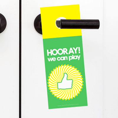 Summer has hit and the doorbell is ringing non-stop! With the Playtime Door Hanger, the neighborhood kids will know when your kids are available to play!