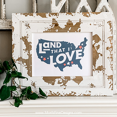 The Land That I Love 4th of July Printable is a simple and beautiful patriotic addition to your seasonal holiday home decor.