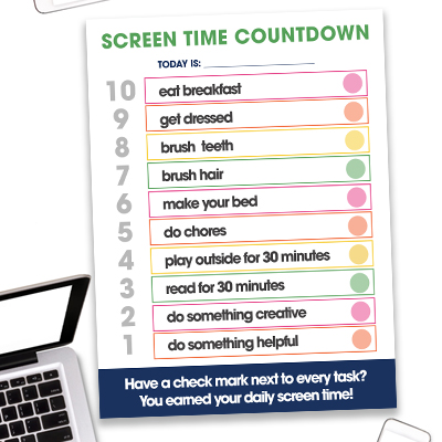 The Screen Time Countdown free printable has kids go through a checklist of 10 items that must be done before they can use electronics.