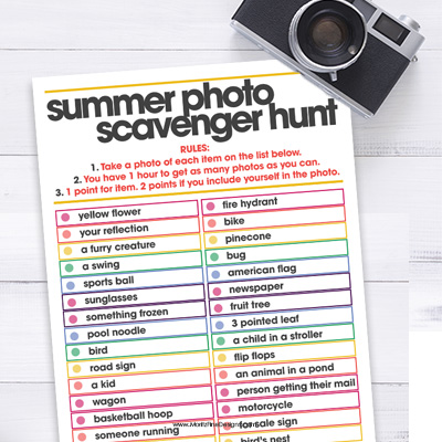 Summer Photo Scavenger Hunt