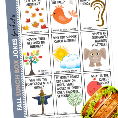 Fun and free printable fall lunch box jokes for kids.