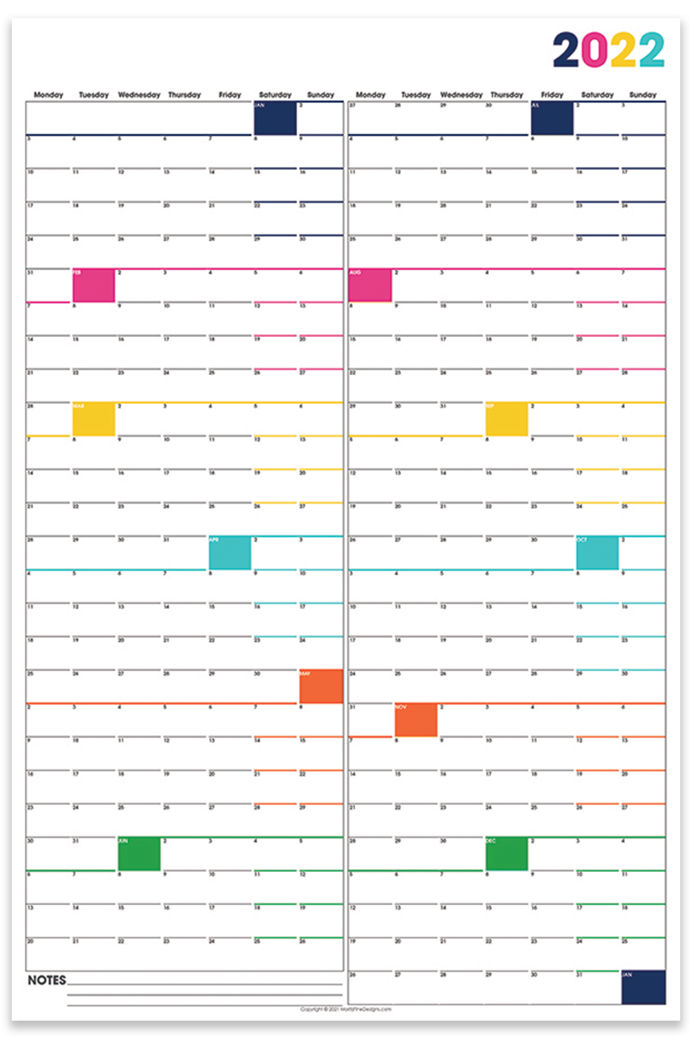 It's easy to see your year-long overview of all of your family and work events--download thiss free printable large wall calendar and hang!