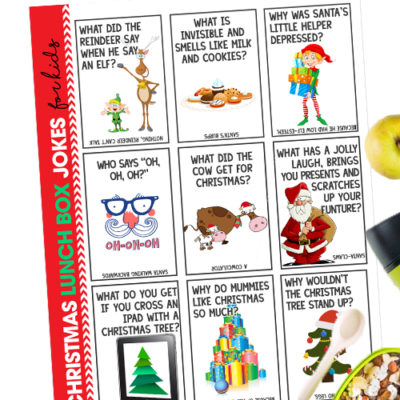 Surprise your kids at lunch with these fun and free printable Christmas Lunchbox Jokes. The jokes will keep them and their friends laughing!
