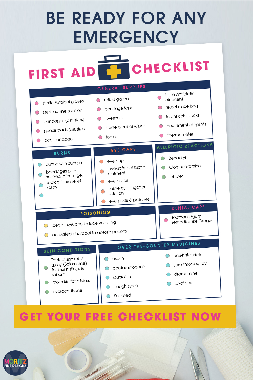 Every household needs a well stocked first aid kit. Use the free printable First Aid Checklist to make sure your kit is fully supplied.