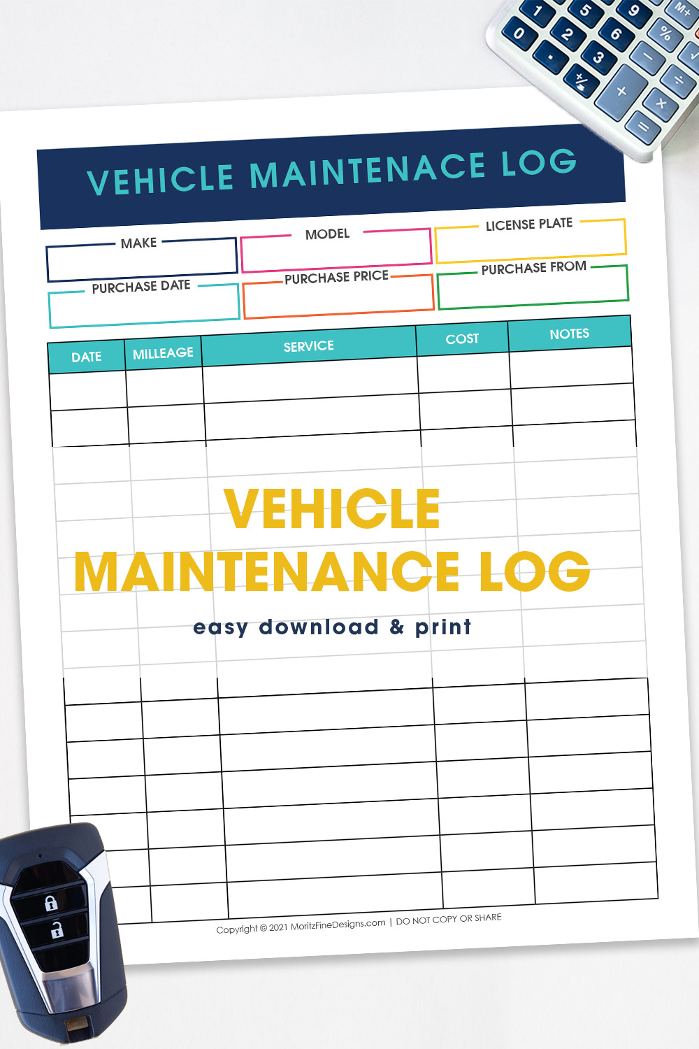 Track all maintenance and repairs that you do to your vehicle with this free editable Vehicle Maintenance Log.
